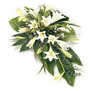 white and green floral spray