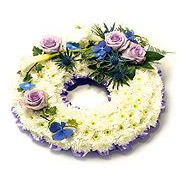 lillac and white flower wreath
