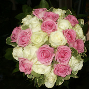 bridal bouquet pink and white rose