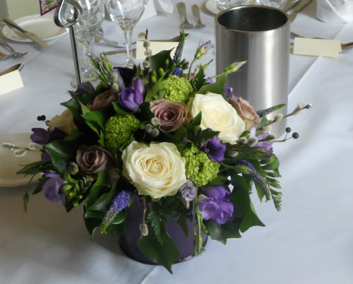 wedding countrystyle table arrangement